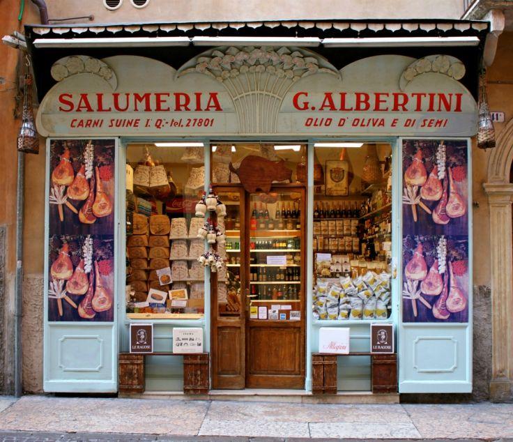 Salumeria G. Albertini, Corso Sant'Anastasia, Verona. Beautiful Art Nouveau (Liberty Style) shopfront.
