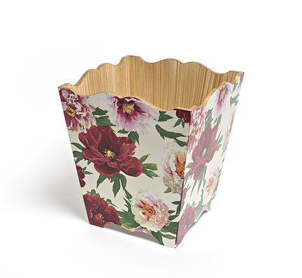 Peony Waste Paper Bin by Crackpots Tissue boxes and Bins - lovingly hand decoupaged <3