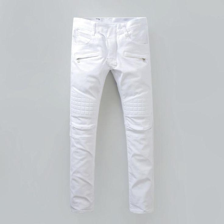 Plus 40 Size New Luxury Balmain Jeans Men Brand Designer Denim Skinny Jeans Fashion White Jeans Men Robin Jeans