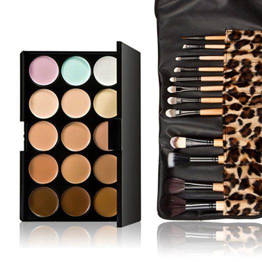 Tinksky Pennello trucco 10 + 15 colori di evidenziazione contorno viso crema trucco Concealer Palette Contouring Kit