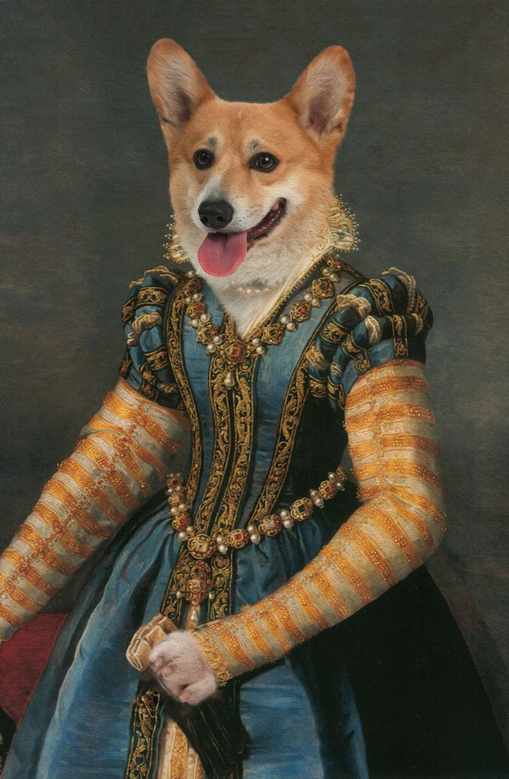 """Isabella de' Medici"". Anthropomorphic dog digital art."