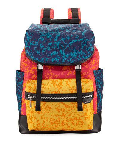 Alpina Large Notebook-Print Backpack, Blue/Red/Orange