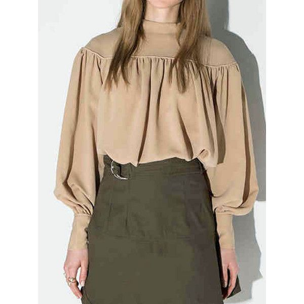 Light Khaki Keyhole Back Pleat Detail High Neck Blouse (€28) ❤ liked on Polyvore featuring tops, blouses, beige blouse, pleated blouse, long blouses, long tops and high neck blouse