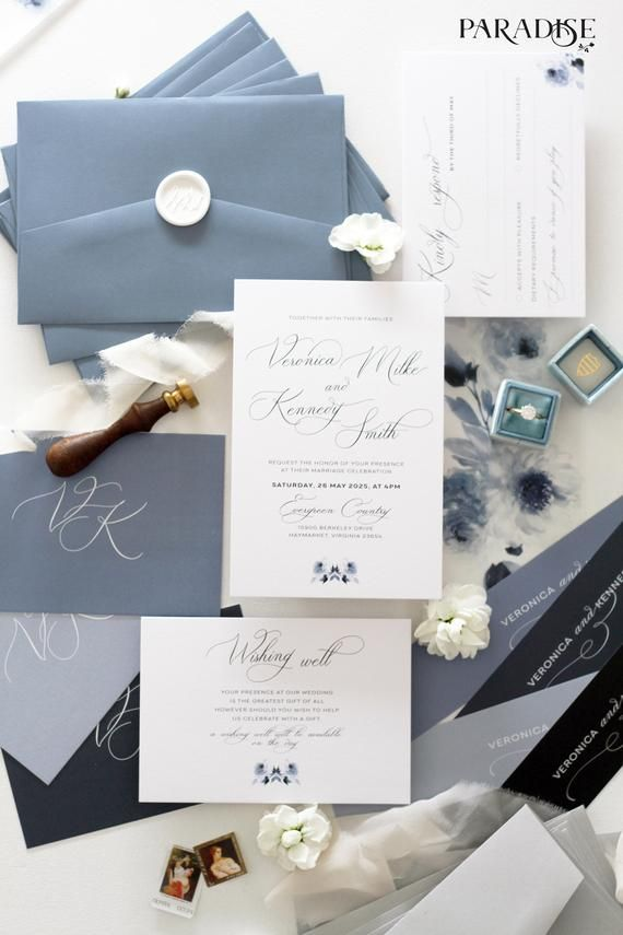 Clesia Wedding Invitation Sets Invitation Kits Invitations Printable Or Printed Dusty Blue Envelopes Wax Seals Vellum Covers Sets In 2020 Blue Wedding Invitations Wedding Invitation Sets Invitation Kits