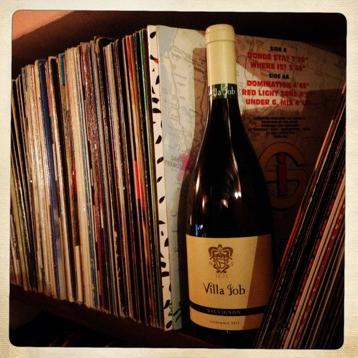 A bottle of Pinot and some old records...
