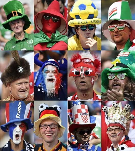 #EURO2016 #TOPSHOT Combination picture made on June 17 2016 shows supporters wearing hats from various countries participating in the Euro 2016 football...