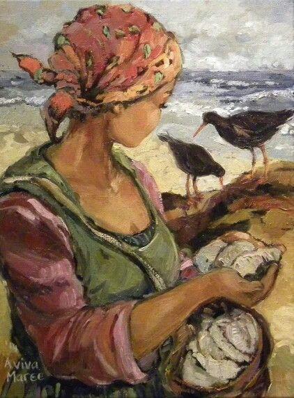 Meisie met oesters   Aviva Maree Art