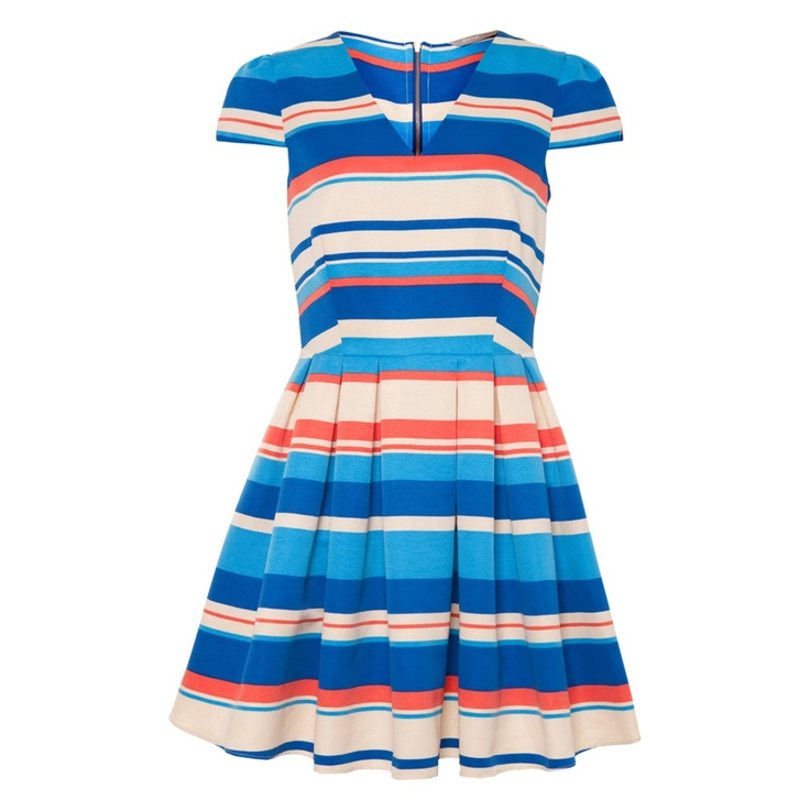 A|wear Variegated Stripe Skater Dress