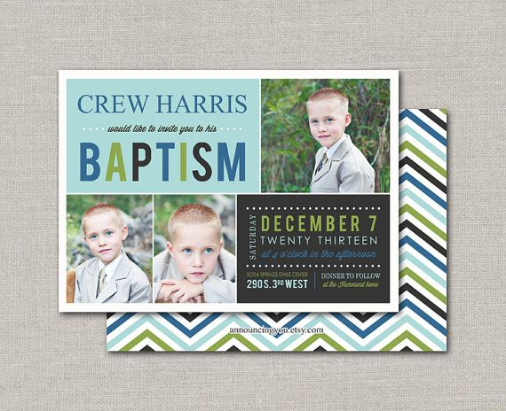 LDS Baptism Invitation  Crew by announcingyou on Etsy