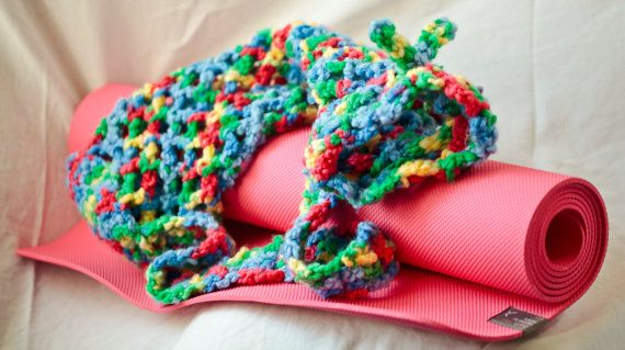 Colourful Crocheted Yoga Mat Bag by KatEyeKrafts on Etsy, $45.00