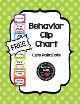 "FREE Clip Chart Behavior Management System - Cute Polka DotsBuy an editable version of this item in my 'Cute Polka Dots Classroom Dcor Bundle!"" 35% offCheck out all of the coordinating 'Cute Polka Dots' items like this one in my store!This is my version of the Oh-So-Popular Clip Chart Behavior Management System to match my Polka Dot Theme."