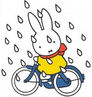 Nijntje - bike ride rain cartoon