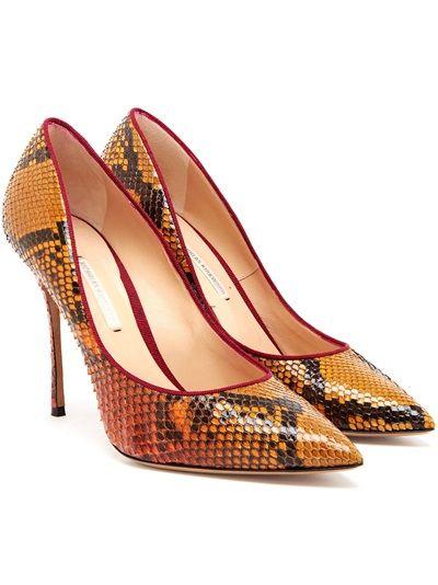 #NICHOLASKIRKWOOD - Pointed Python #Pumps  #shoes #orange #fashion #style