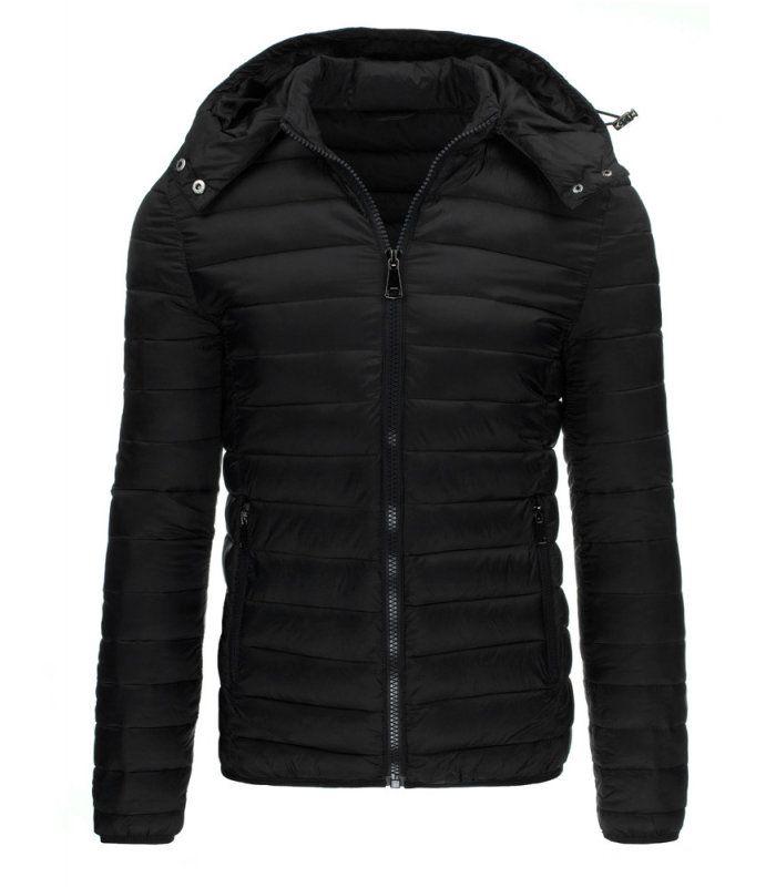 Čierna zimná, pánska bunda s kapucňou. Zapínanie na lesklý zips. Odnímateľná kapucňa regulovaná stopermi. Dve vonkajšie vrecká. Jedno vnútorné vrecko. Pohodlný strih. Vhodné ako neformálne oblečenie.