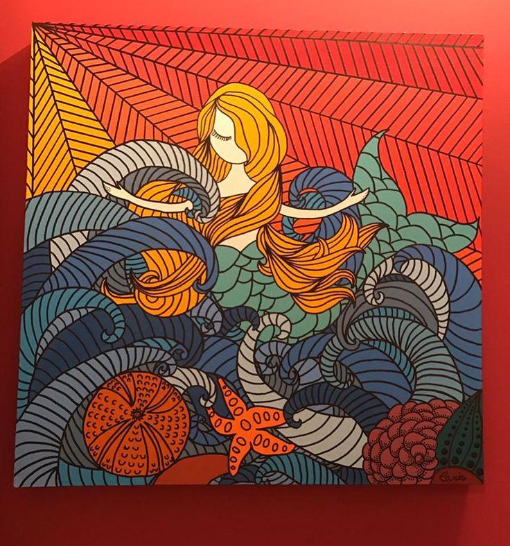 """Tela Iara"""" 50 x 50 em tinta acrílica -A venda -informações in box. #criscunhaart #acrilex #sereia #mermaid #poscapen"""