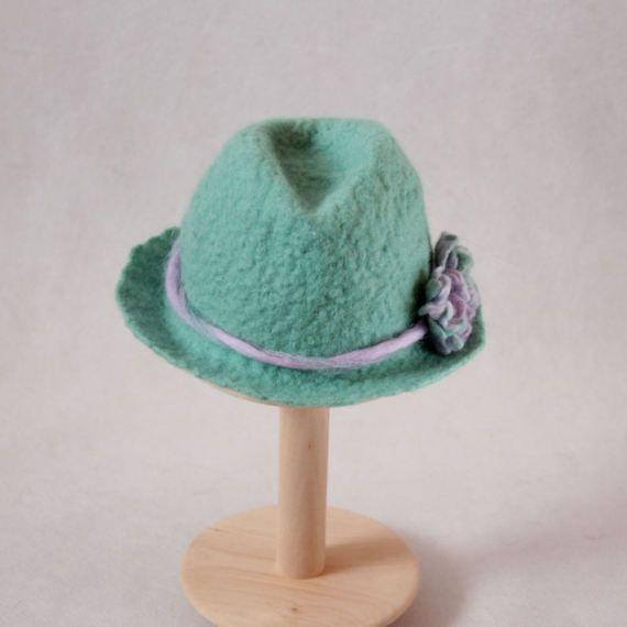Felted newborn hat mint flower fedora top merino wool by EsartFelt