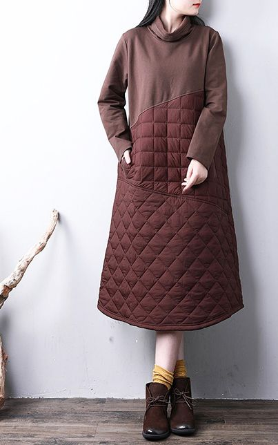 5819da2de5484 Casual chocolate women parkas casual high neck warm winter thick pockets  winter dresses