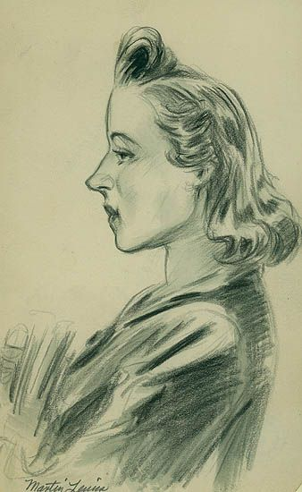 Martin Lewis, N.A. 1881-1962. Figure Study. 1940-41. Pencil drawing. 8 x 4 15/16. Drawn on the full sheet of sketch book paper. Related to the two female figures in 'Chance Meeting', McCarron 131; a. Woman on left holding grocery bag, b. Woman on right standing. Estate stamp verso: Lucille Deming Collection. Estate inventory number LDL-986. Signed and initialed in pencil by the artist's wife, Patricia Lewis