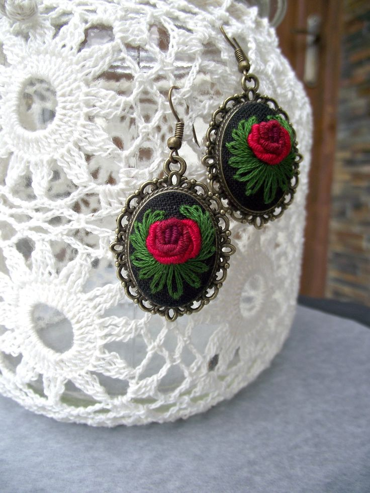 Embroidered earrings with roses,  floral earrings, romantic earrings, valentine's gift, gift for women, gift for her by ZoZulkaart on Etsy