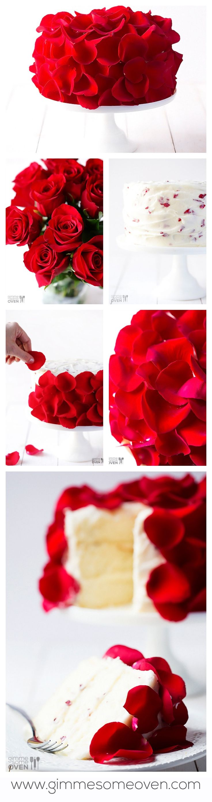 Learn how to make a beautiful fresh rose cake with real (edible) roses mixed into and on top of the frosting! gimmesomeoven.com #valentines #roses #cake
