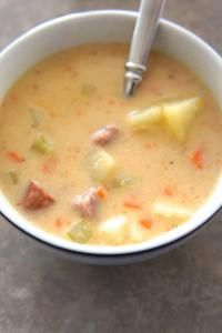 Potato White Cheddar Sausage Soup on MyRecipeMagic.com A creamy potato soup with cheese, sausage and some vegetables, that is very filling.