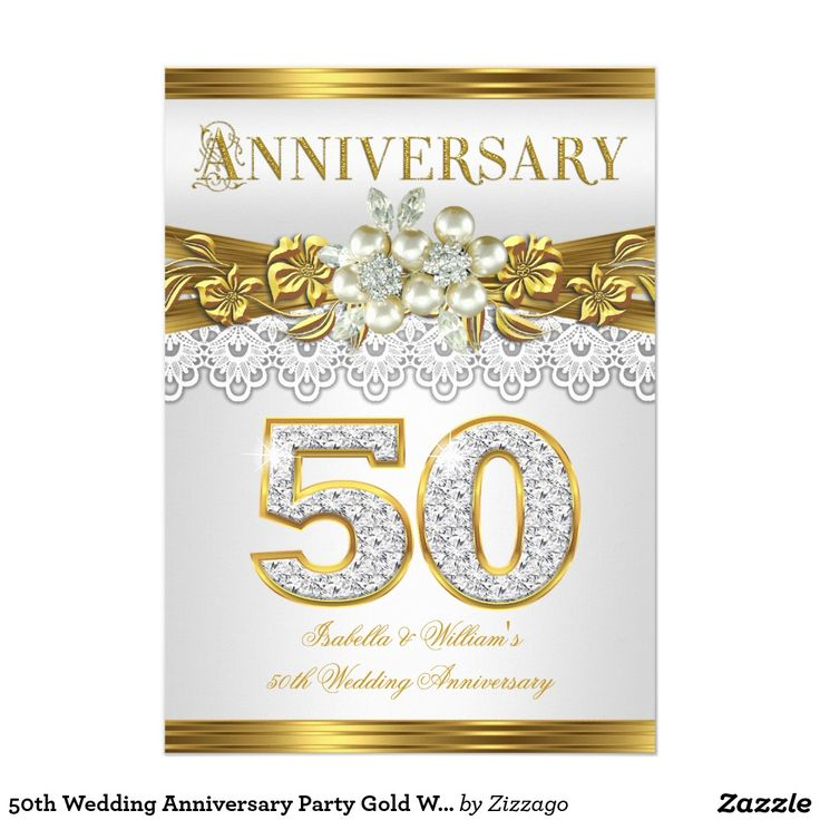 50th Wedding Anniversary Party Gold White Pearl 5x7 Paper Invitation Card