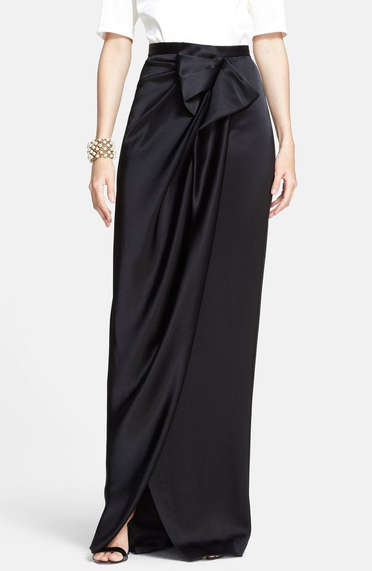 St. John Collection Draped Liquid Satin Evening Skirt