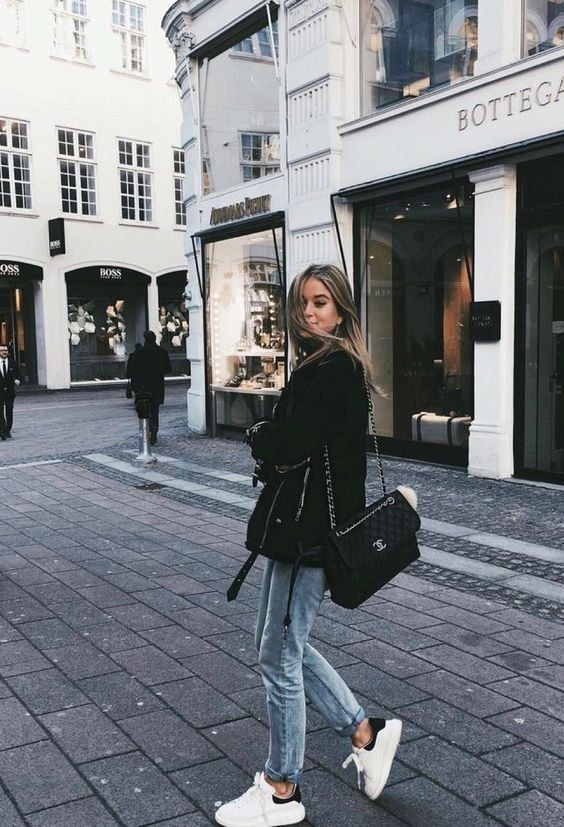 Herbst #outfit # | #Streetstyle # | #Coat # | #Jeans # | #Sneaker # |