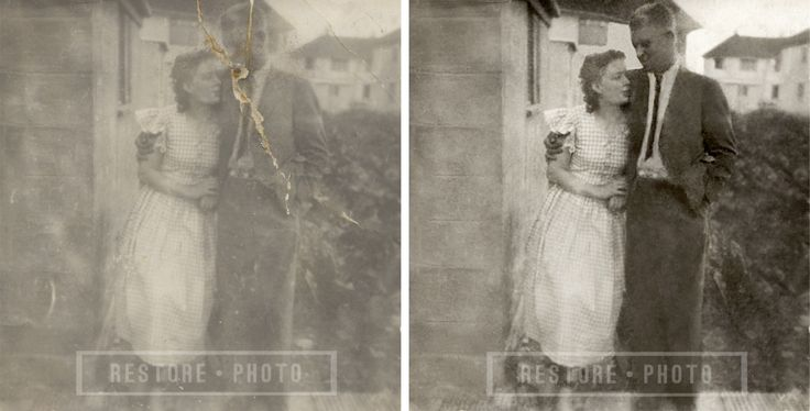 Damaged photo restored back to its former glory. Fix your torn, scratched, ripped, faded or discoloured photograph today with Restore-Photo.co.uk