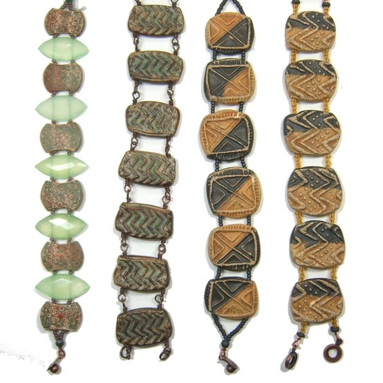 Handmade clay beads transformed into reversible bracelets by BHClaysmith.