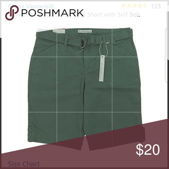 Gloria Vanderbilt women's  Sierra shorts, nwt. Gloria Vanderbilt Sierra womens shorts with an adjustable belt, plus size...beautiful fit and the fabric is so comfortable, nwt. The color is sweet basil. The color goes well with almost any color. Gloria Vanderbilt Shorts