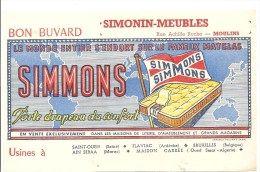 Buvard SIMMONS Le monde entier s´endort sur le fameux matelas offert par SIMONIN-MEUBLES Rue Archille Roche à Moulins