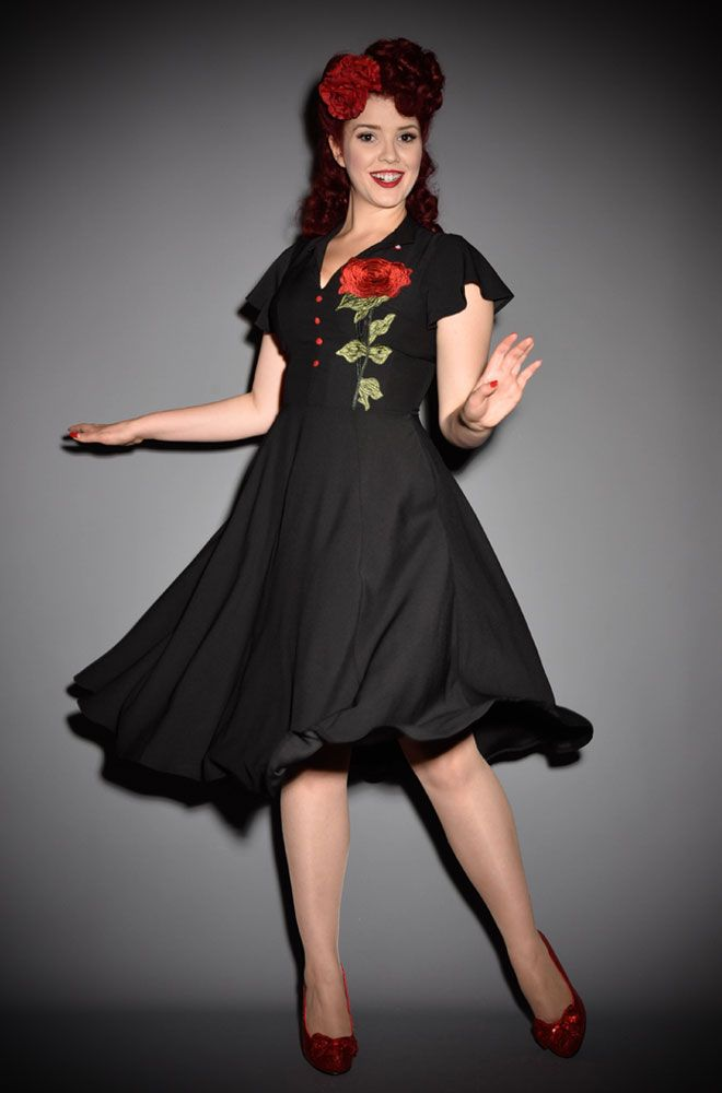 The Baltimore Rose Dress By Unique Vintage At Deadly Is The Female Dresses Fashion Dresses Rose Dress