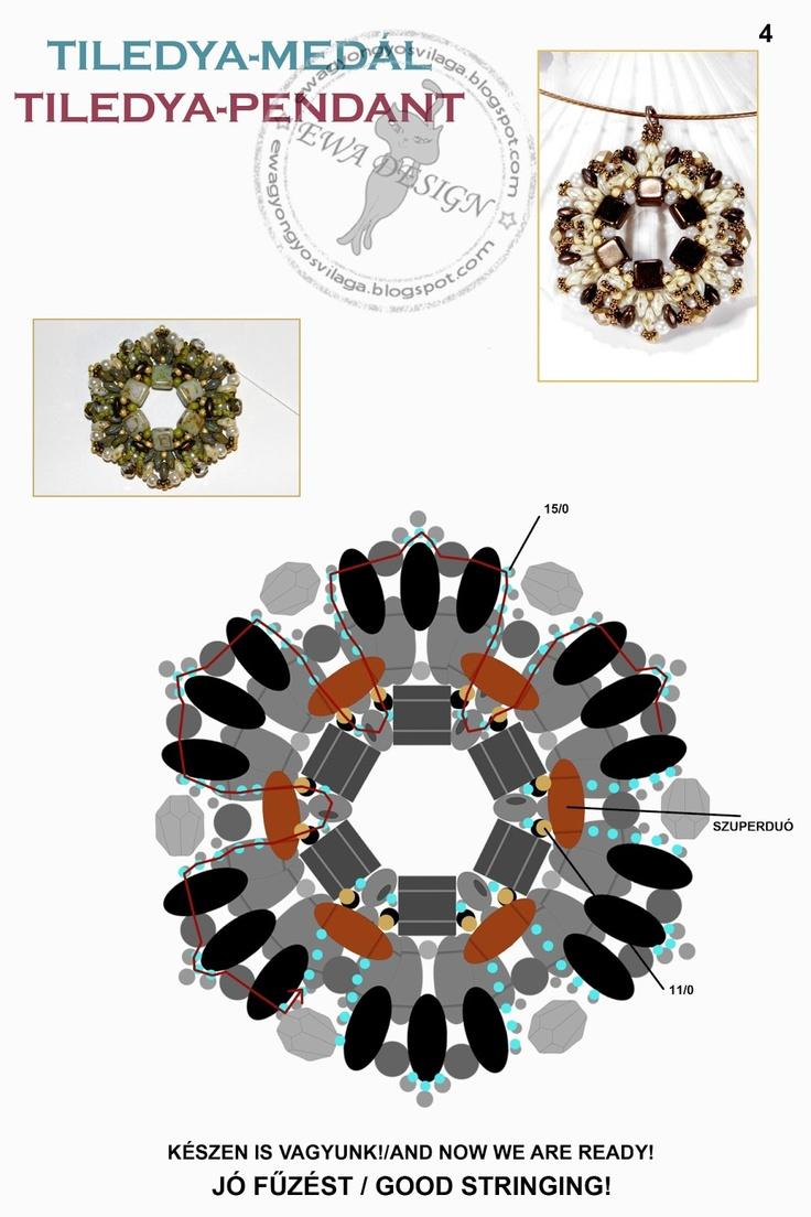 Ewa beading world!: Tiledya pattern pendant / pendant pattern Tiledya