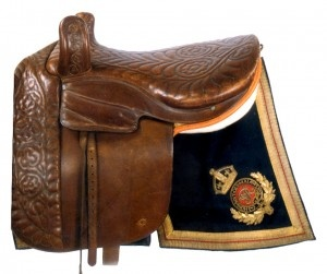 Queen Victoria's Side Saddle    Made by Gordon & Co, London, quilted pigskin seat and panel. First used by her at a review in 1856.  The collection includes 2 other saddles with a royal connection, plus a number of side saddles and military saddles.