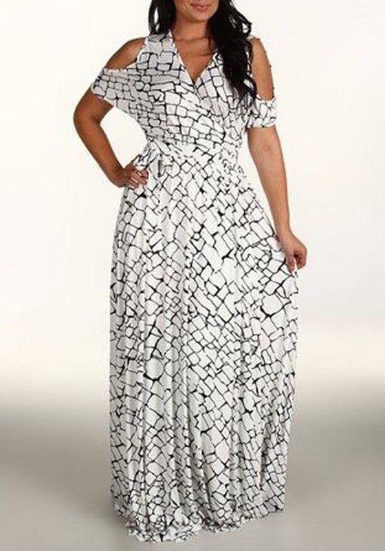 White Plain Print V-neck Off-Shoulder Short Sleeve Plus Size Maxi Dress