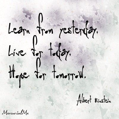 """Learn from yesterday. Live for today. Hope for tomorrow."" - Albert Einstein"