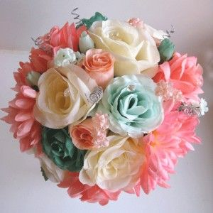 Coral Teal Mint Silver Silk Bouquet