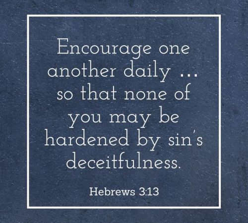 """Hebrews 3:13 (NIV) But encourage one another daily, as long as it is called ""Today,"" so that none of you may be hardened by sin's deceitfulness. """