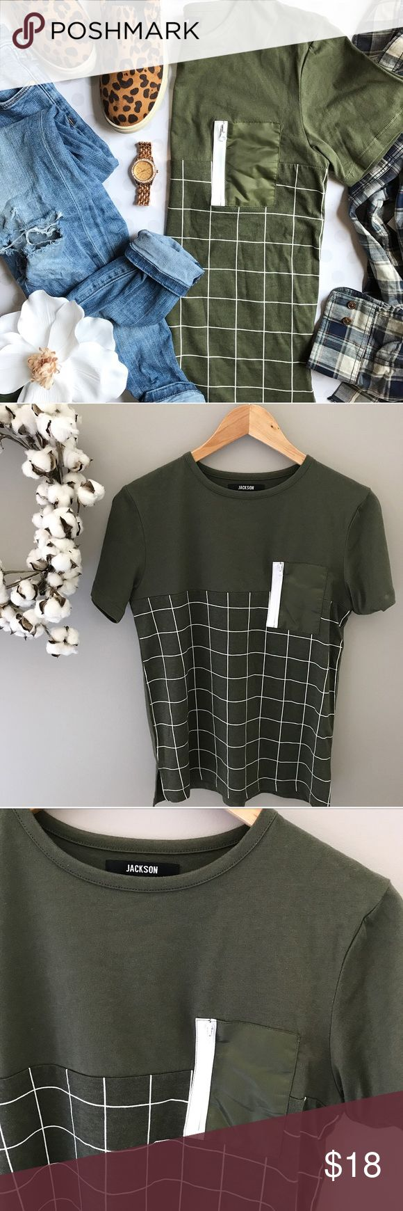 "🆕 NWOT Juniors Windowpane zipper pocket t-shirt NEW without tags -- olive is my new favorite neutral, especially when paired with the windowpane print on this fun t-shirt by Jackson. White accent pocket with zipper adds additional interest. It isn't labeled Juniors anywhere, but because of the measurements I have marked it as such. Would fit ""women's"" XS or S as well. 34"" bust, 24"" length. 100% cotton jackson Tops Tees - Short Sleeve"