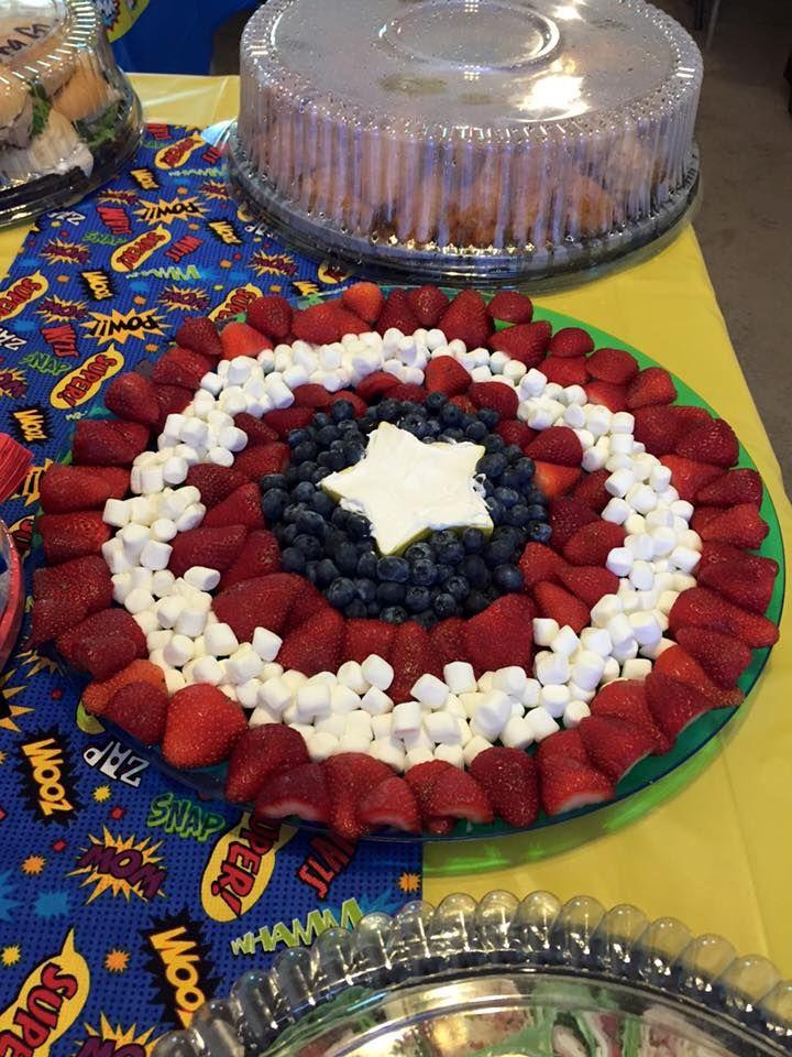 Superhero baby shower captain America fruit tray