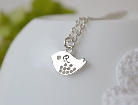 Personalized Initial Necklace Initial bird by artemisartdesign