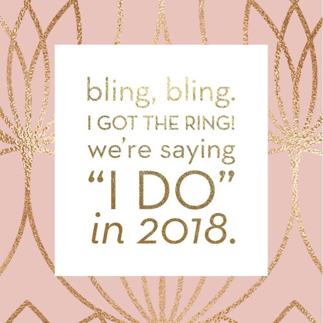 """Free phone wallpaper for 2018 brides! Blush pink background with gold foil geometric pattern + message. """"Bling, bling. I got the ring! We're saying 'I do' in 2018."""" - A Short Engagement 