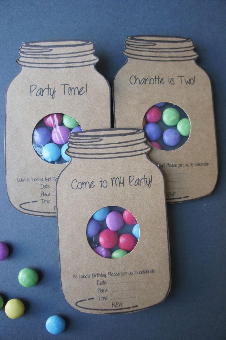 Partei lädt / Kinder-Party-Einladungen / Mason Jar Party lädt / Geburtstag lädt ein