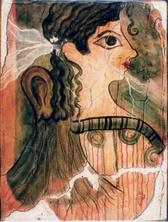 "Fresco con la figura conocida como ""La Parisina"",Palacio de Cnosos.Arte Minoico"