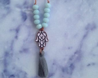 Hamsa Hand Necklace, Fatima Hand Charm with Cotton Tassel & Czech Glass Beads for Good Luck, Enamel Jewelry, Rose Gold Charm, Gift for Her