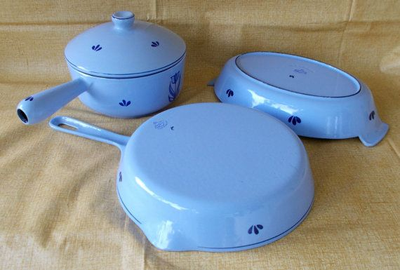 Vintage Dru Holland Blue Tulip Cast Iron Enamel Cookware Set, Like New