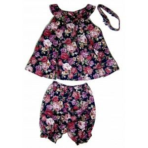 Floral Toddler Dress Set with Pants and Head Band