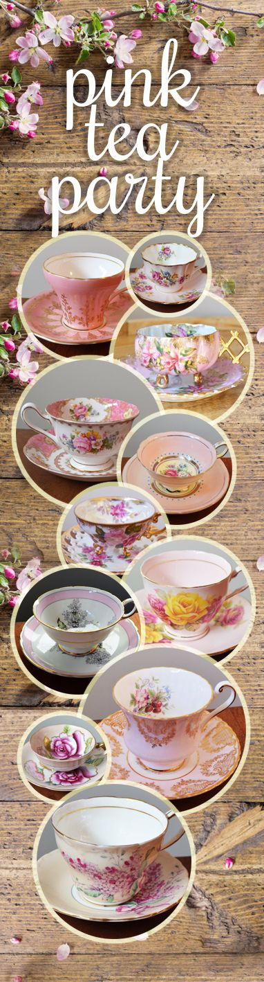 Pretty in pink teacups for Wedding or Baby Showers! Paragon, Royal Albert, Aynsley, Foley and Queen Anne fine bone china.