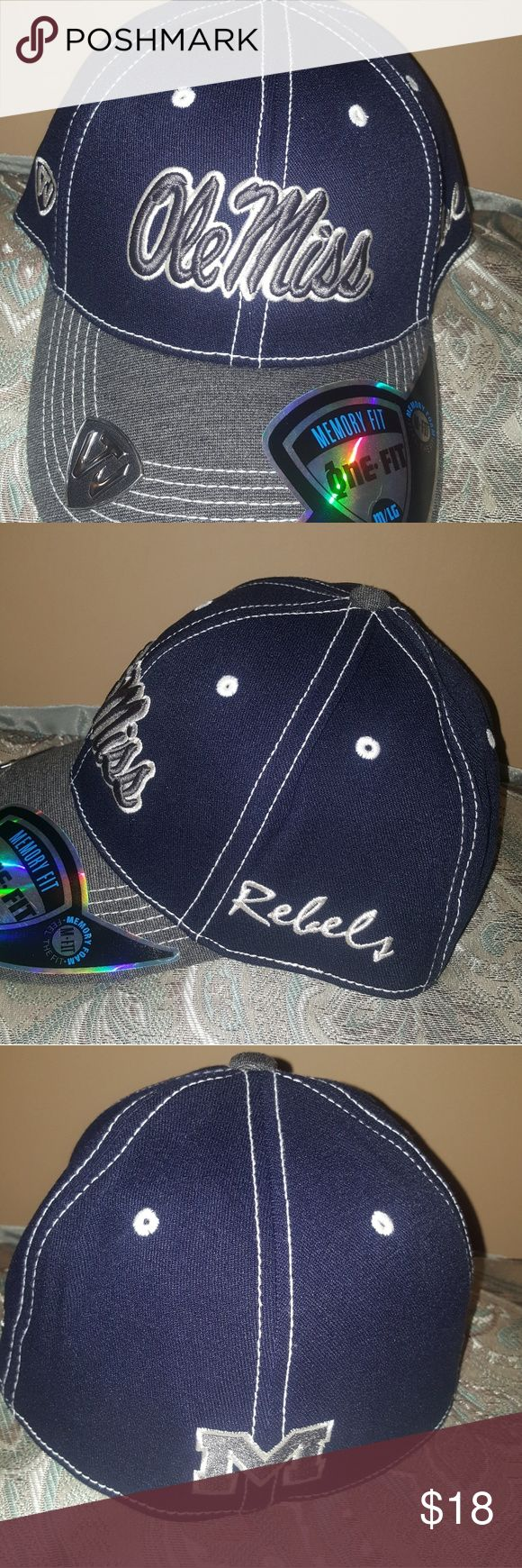 Ole Miss Rebels Cap NEW Navy and gray ole miss rebel cap size M/L memory fit Accessories Hats